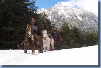 Luis in the snow, on the Crossing the Andes on Horseback in Northern patagonia Trail