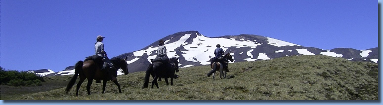 Group of riders heading towards a mountain on the volcano trail ride in NP Villarrica, Chile