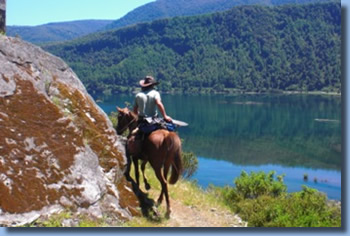 Rider on horseback in front of lake on a horseback trailride in chilean andes