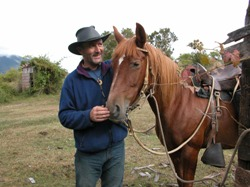Huw and Regalona, heart and soul on the  7 day horse back riding adventure in the chilean andes.