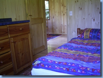 bedroom view of cabin at Antilco, the horse riding ranch in Chile