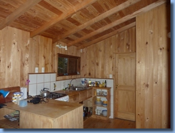 Kitchen view of cabin at Antilco, the horse riding ranch in Chile